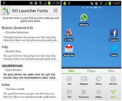 aplikasi go launcher font