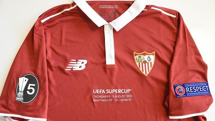 new sevilla europa league 16 17 kits sleeve badge sevilla super cup final kit revealed footy headlines new sevilla europa league 16 17 kits