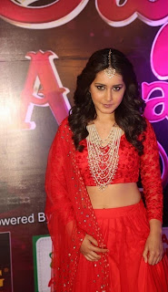 Actress Rashi Khanna Stills in Red Lehenga Choli at Apsara Awards 2016  0015.jpg