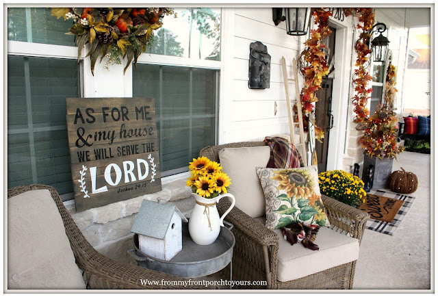 Fall Porch Decorations-Sunflower Pillow-Farmhouse-Wicker Chairs-Sunflowers-Front Porch-Farmhouse-From My Front Porch To yours
