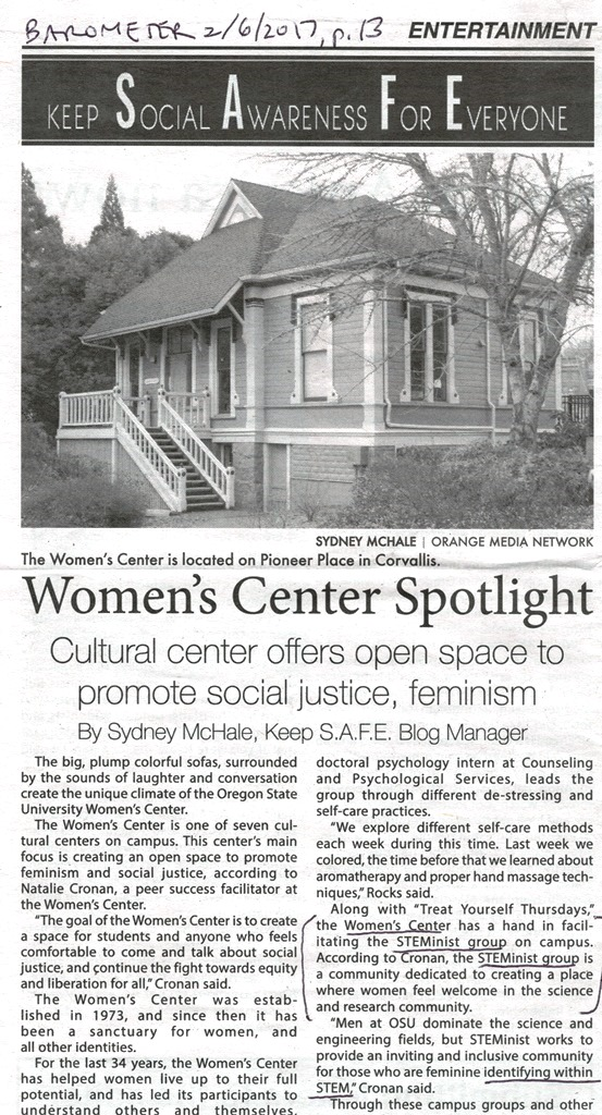 Women's Center STEMinist group in Barometer FEb. 6, 2017, p. 13