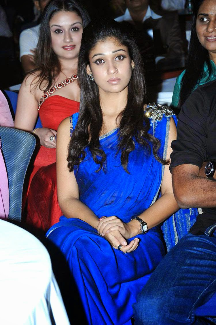 Nayanthara Hot Blue Saree Pictures  Nayanthara Tollywood -1095