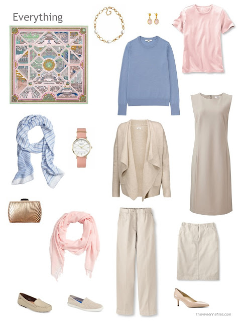 six-piece beige, light blue and pink capsule wardrobe
