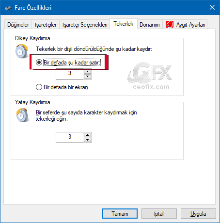Fare tekerleğinin (Mouse Scroll ) döndürme ayarı nasıl yapılır