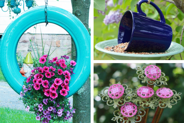 20 beautiful garden crafts to make with recycled for Garden decorations from recycled materials