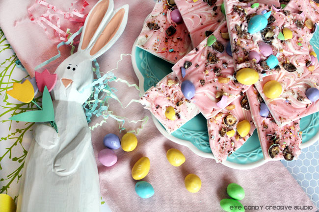 easter bunny, bunny bark, peanut M&M'S®, how to make easter bark