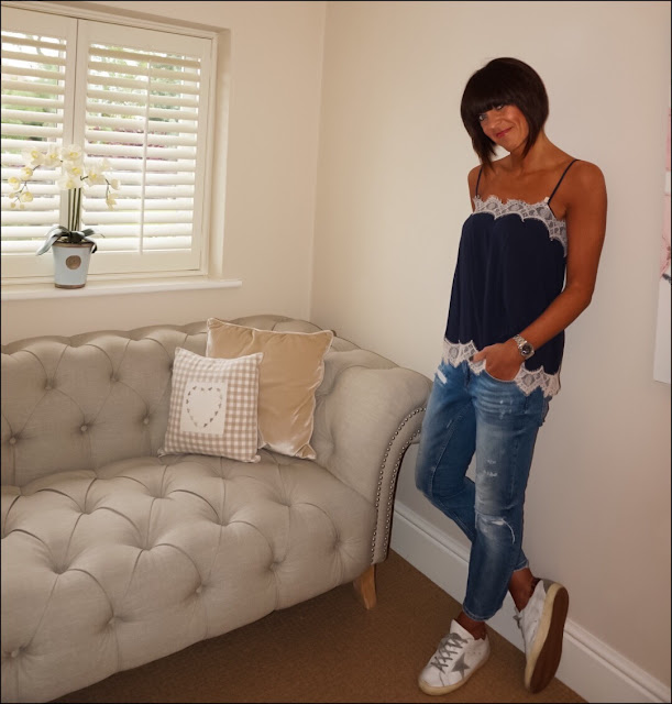 My Midlife Fashion, Marks and Spencer lace trim camisole, zara distressed cigarette length jeans, golden goose trainers