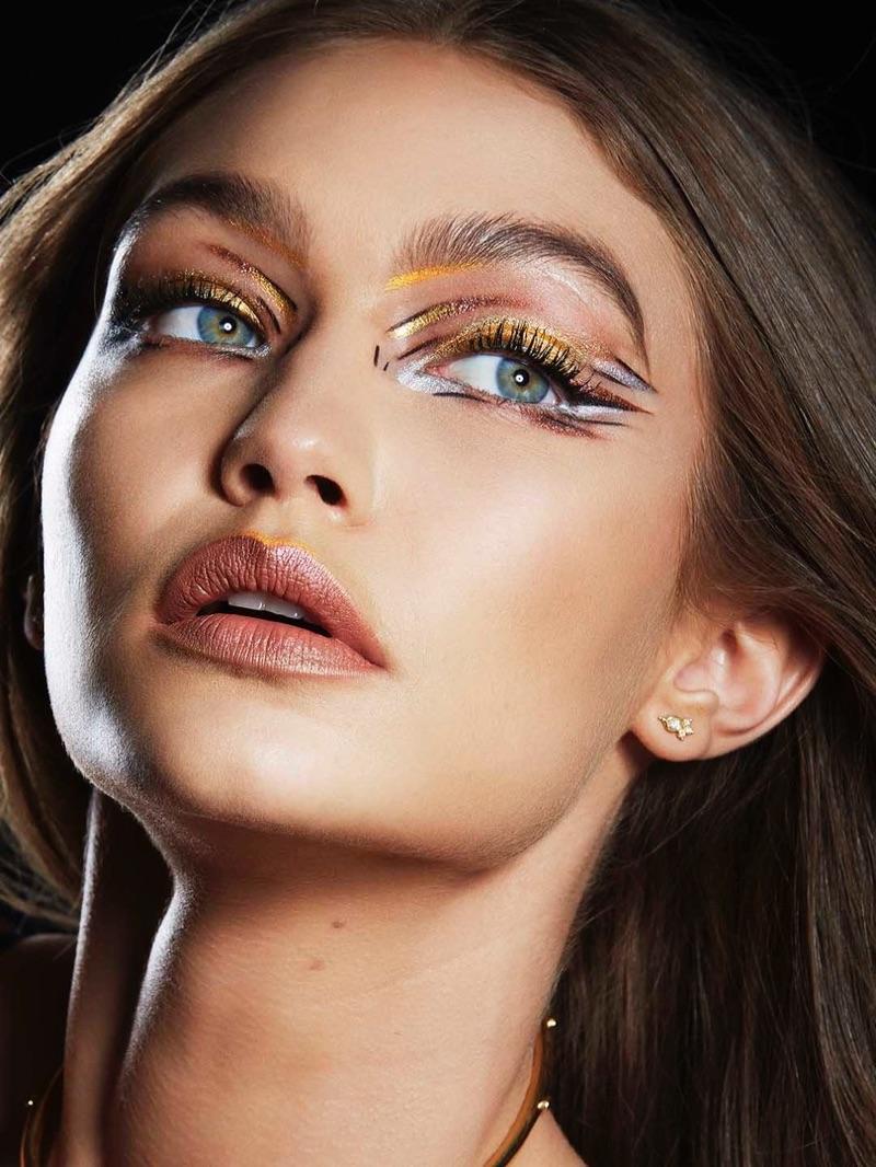 Gigi Hadid wears metallics from Maybelline