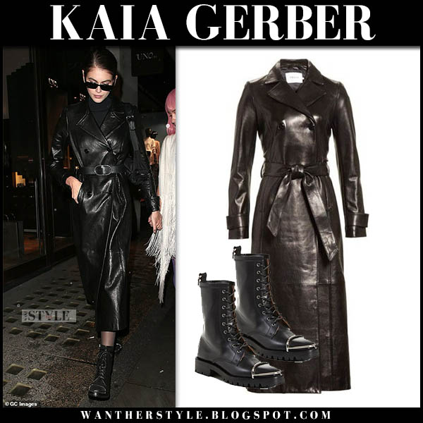 Kaia Gerber in black leather frame coat and black combat boots alexander wang model winter style october 31