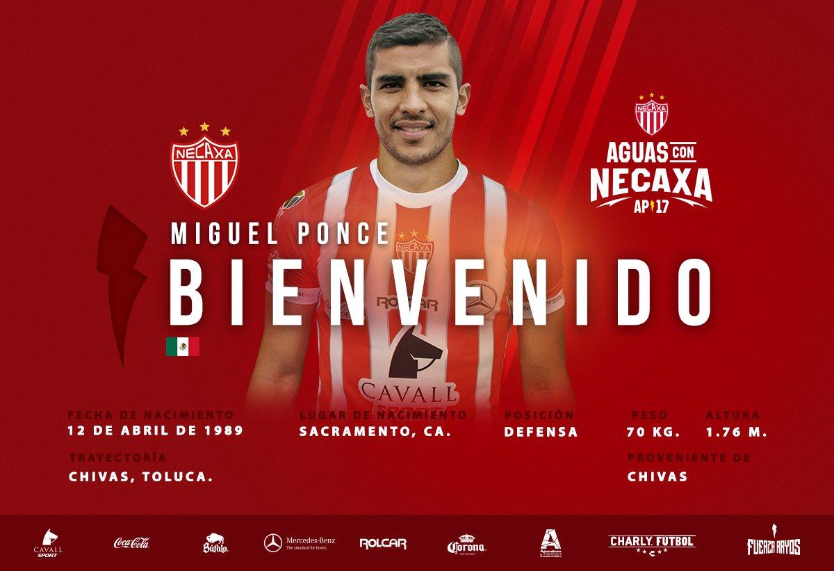 Miguel Ponce se une a los Rayos del Necaxa.