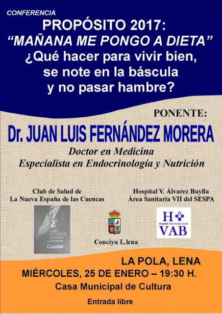 """Cartel conferencia """"Mañana me pongo a dieta"""", en La Pola Lena"""