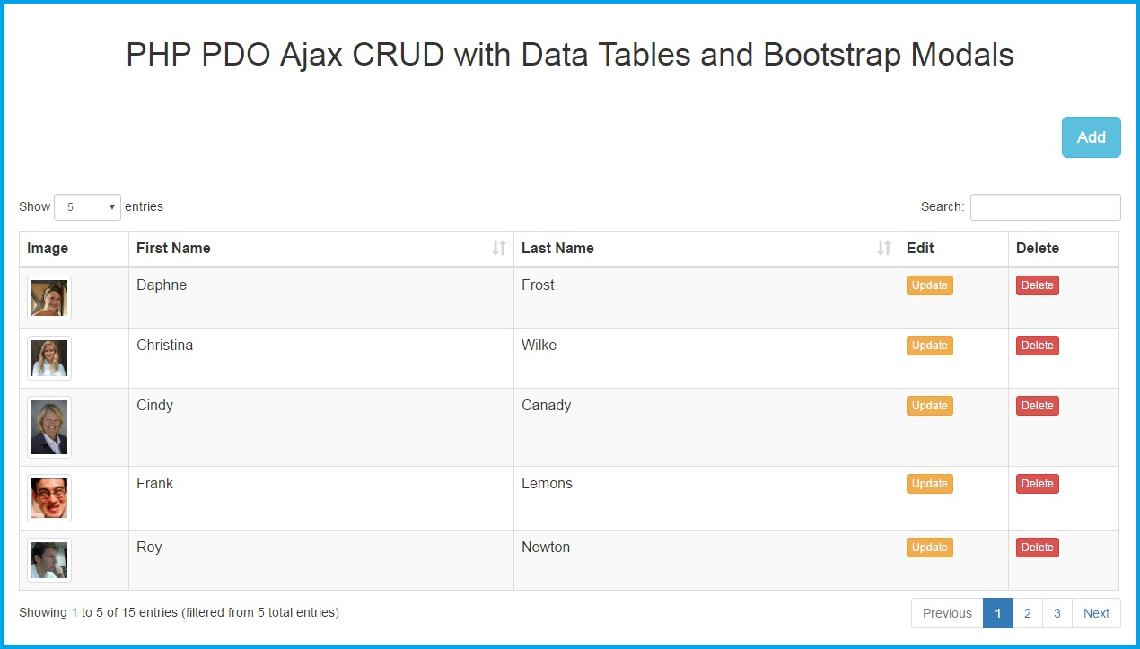 PHP PDO Ajax CRUD with Data Tables and Bootstrap Modals