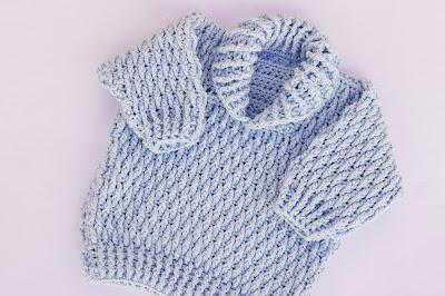 2 - Majovel Crochet Imagen Jersey azul con punto elastico a crochet y ganchillo