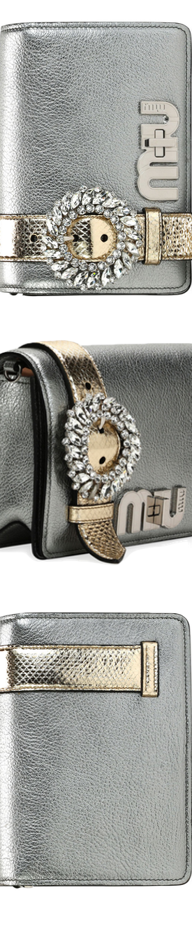 Miu Miu My Miu Small Metallic Jeweled Clutch Bag