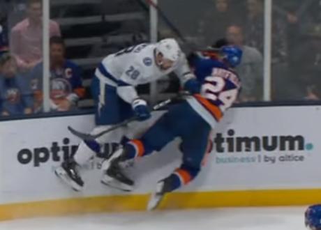 Tampa Bay Lightning defenseman Luke Witkowski smashes NY Islanders defenseman Scott Mayfield into boards 11/1/2019
