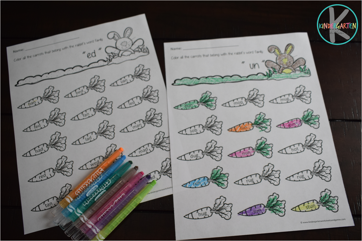 Easter Word Families Worksheets