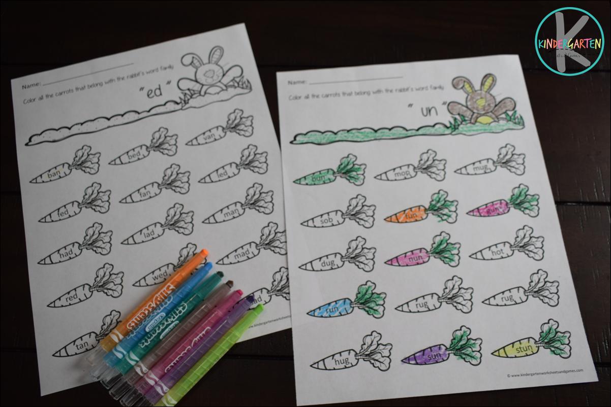 Spring Word Family Worksheets for Kindergarten [ 802 x 1202 Pixel ]
