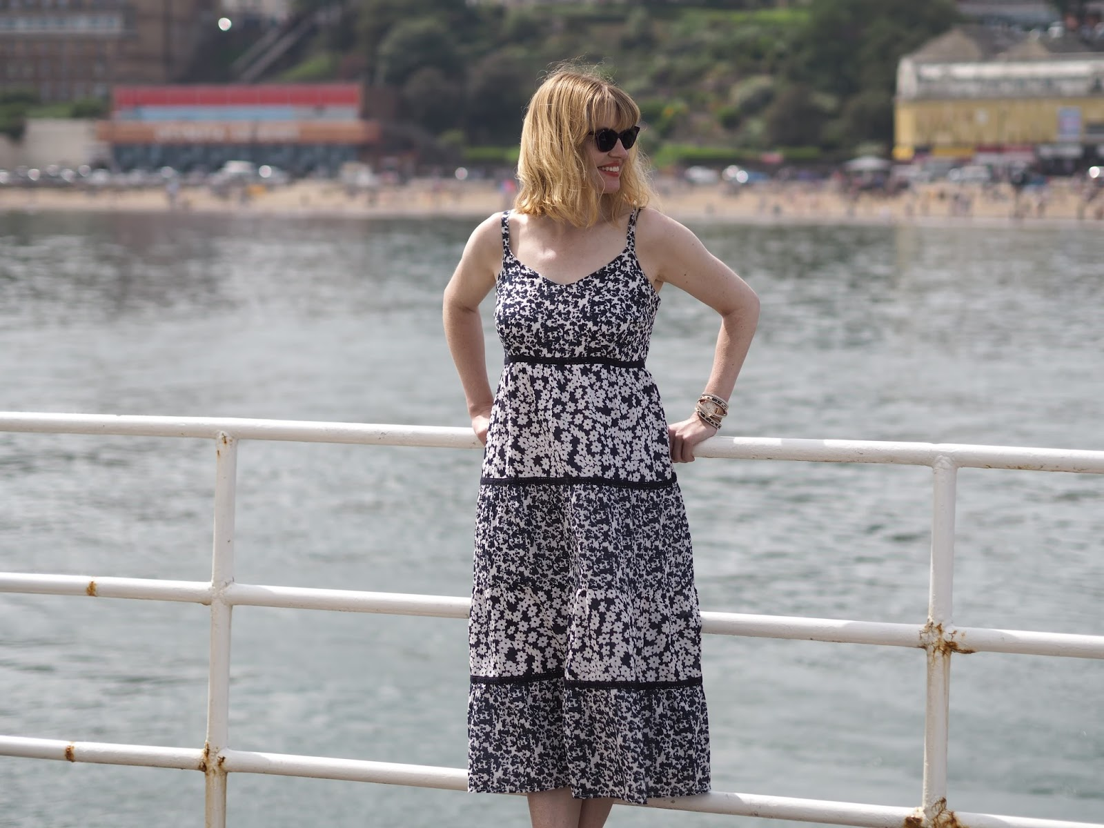 Blue floral sundress Style Colours sunglasses Vincent Pier Scarborough