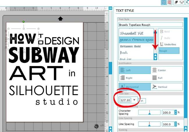 Secret to easily designing subway art in silhouette studio silhouette studio subway art text size fandeluxe Gallery
