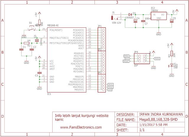 Skema minimum sistem ATMEGA8/88/168/326 SMD