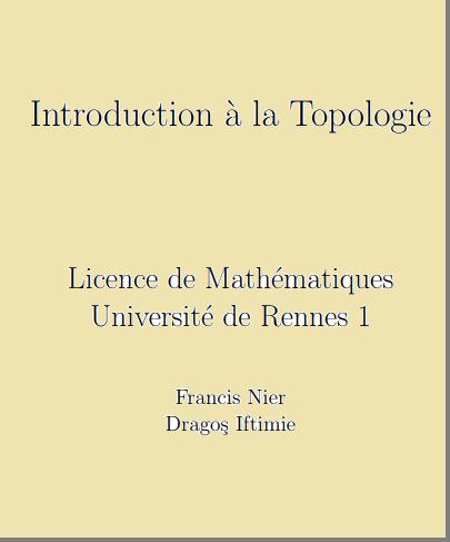 Cours : Introduction à la Topologie - Licence de Mathématiques PDF