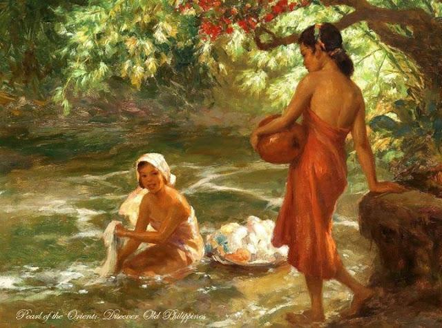 Fernando Amorsolo - Girl Washing In The River