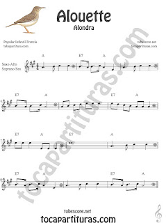 Soprano Sax y Saxo Tenor Partitura de Alouette (Alondra) Canción infantil Sheet Music for Soprano Sax and Tenor Saxophone Music Scores