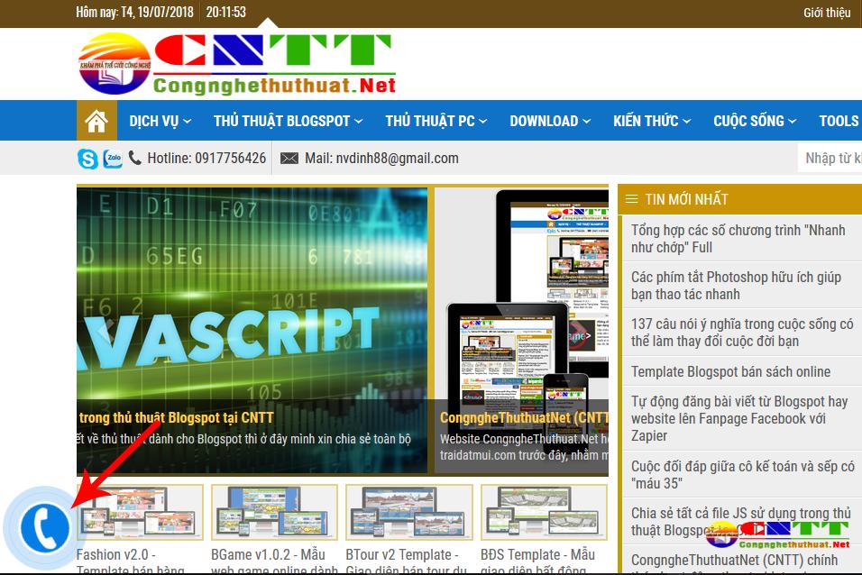 Chia sẻ code chèn nút gọi nhanh cho Blogspot hay website