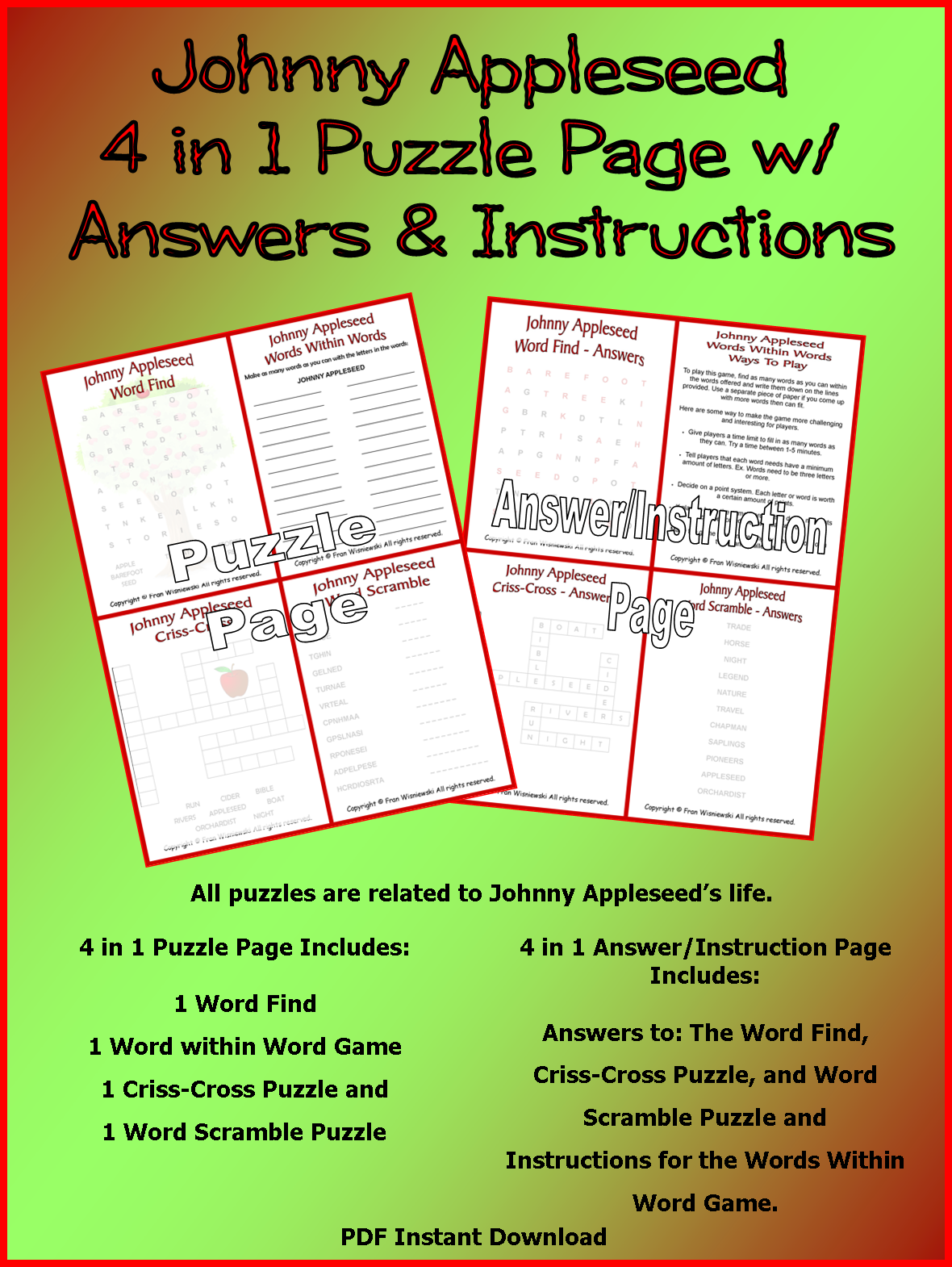 Funschooling Amp Recreational Learning Johnny Appleseed Resource Page