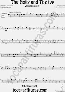 Partitura de Holly and The Ivy para Trombón, Tuba Elicón y Bombardino Villancico Sheet Music for Trombone, Tube, Euphonium Music Scores