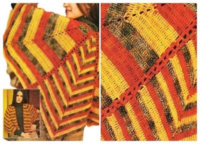 Poncho crochet con picos gajos líneas irregulares