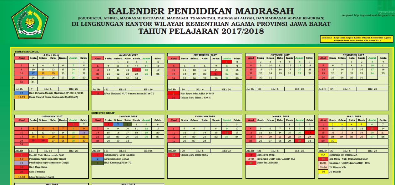 Kalender Pendidikan Tahun 2017 2018 Mts Arrosyid Ii