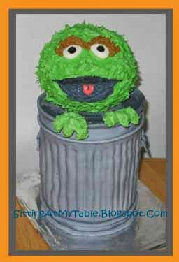 Sitting At My Table Oscar The Grouch Cake
