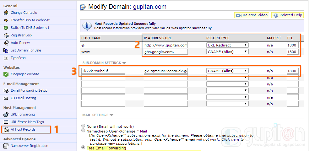 Cara Setting Custom Domain Blogger di Namecheap gupitan 1