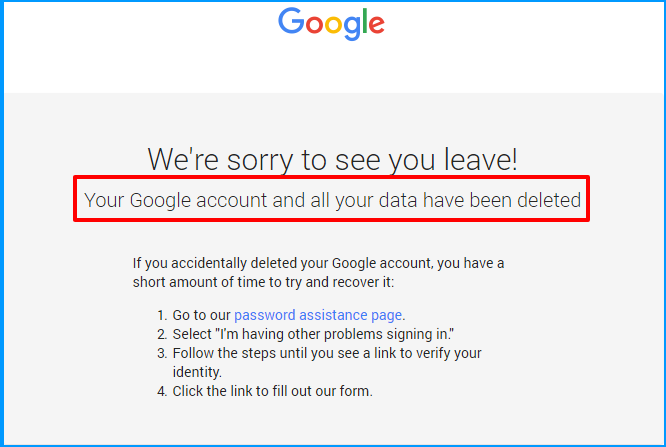 gmail account deleted
