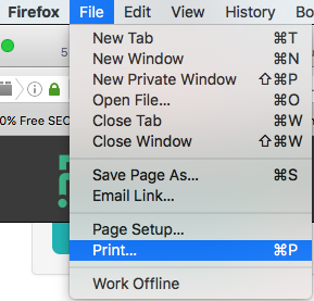 Screenshot of the Firefox file menu print quiz from dropdown
