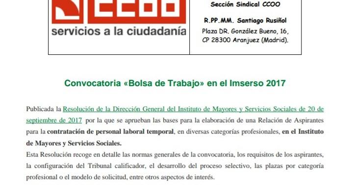 Uni n comarcal las vegas ccoo bolsa de trabajo imserso 2017 for Busco trabajo en aranjuez