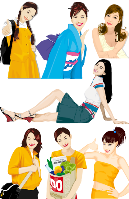 chicas japonesas vector