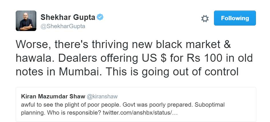 Worse, there's thriving new black market & hawala. Dealers offering US $ for Rs 100 in old notes in Mumbai. This is going out of control