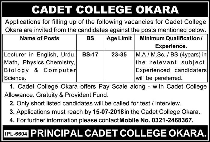 Latest jobs in Cadet College Okara Last date 15 July 2018