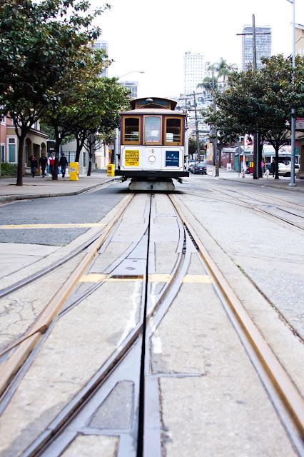 A cable car at Fisherman's Wharf.