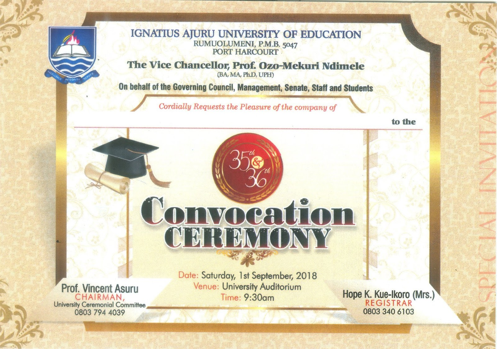 IAUE 35th & 36th Convocation Ceremony Programme