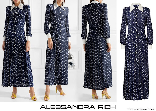 Kate Middleton wore Alessandra Rich Pleated polka dot silk crepe de chine midi dress