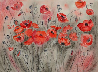 Dancing Poppies, painting by Manju Srivatsa - part of her portfolio on Indiaart.com