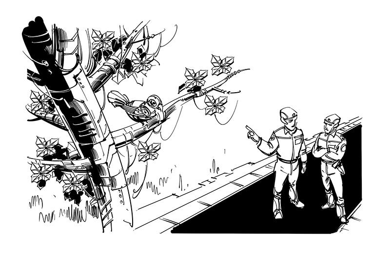 robot bird on artificial tree kids book illustration