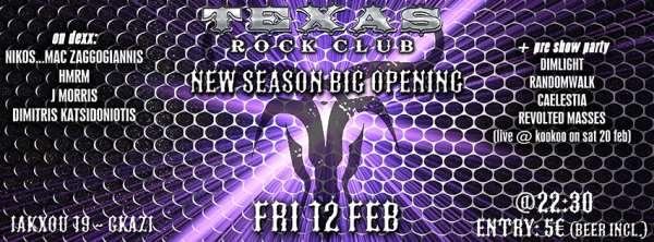 Texas Rock Club New Season Big Opening Party & DIMLIGHT,RANDOMWALK, CAELESTIA και REVOLVED MASSES pre-show party