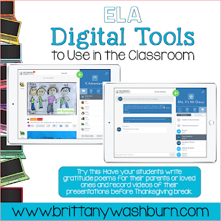 ELA Digital Tools to Use in the Classroom with Ideas for November