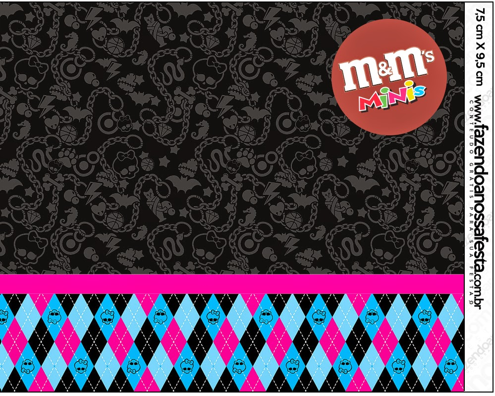 Etiquetas M&M de Monster High Negro para imprimir gratis.