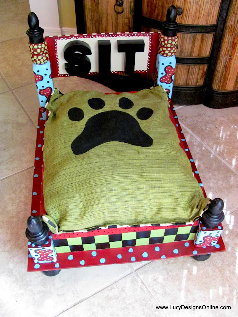 paw print cushion for dog bed