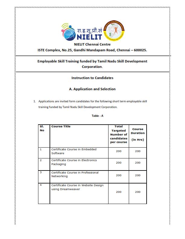 KURNOOL POSTAL DIVISION: Job oriented free training courses